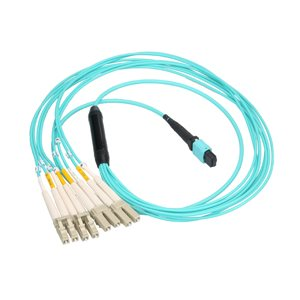 MTP / MPO (QSFP) to (4) Duplex LC Breakout 10G / 40G OM3 Multimode 50 / 125 OFNP Fiber Optic Splitter Cable (40GBASE-SR4) - MTP / MPO Female to (4) Duplex LC Male - 3m (10')