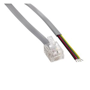 Flat Silver Satin Modular Cables Plug to Tinned End, RJ11 (4 conductors)